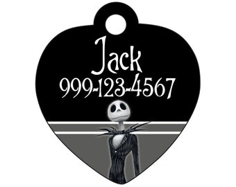 Disney Jack Skellington Custom Pet Id Tag for Dogs and Cats Personalized w/ Name & Number