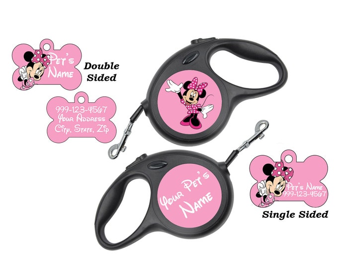 Featured listing image: Disney Minnie Mouse Pet Id Dog Tags & Retractable Leash Personalized for Your Pet
