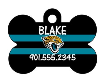 Jacksonville Jaguars Pet Id Dog Tag Personalized w/ Your Pet's Name and Number