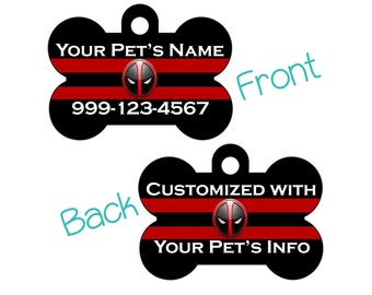 Deadpool Double Sided Pet Id Tag for Dogs and Cats Personalized w/ up to 4 Lines of Text