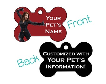 Black Widow | Disney Marvel Double Sided Pet Id Dog Tag | Personalized for your Pet
