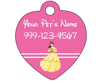 Disney Princess Belle Pink Pet Id Tag for Dogs & Cats Personalized w/ Your Pet's Name and Number