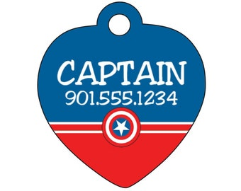 Captain America Avengers Pet Id Tag for Dogs and Cats Personalized w/ Name & Number
