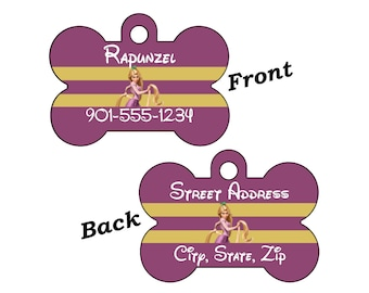 Disney Rapunzel Tangled 2-SIDED Pet Id Tag for Dogs and Cats Personalized w/ 4 Lines of Text