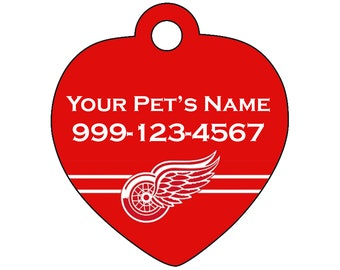 Detroit Red Wings Pet Id Tag for Dogs & Cats | Personalized for Your Pet | Fits all Dogs and Cats!