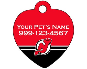 New Jersey Devils Pet Id Tag for Dogs & Cats | Personalized for Your Pet | Fits all Dogs and Cats!