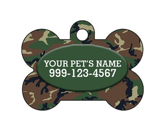 Fashionable Cute Green & Brown Army Camo Pet Id Dog Tag Personalized for Your Pet