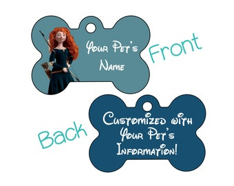 Merida | Disney Brave | Double Sided Pet Id Dog Tag | Personalized for your Pet