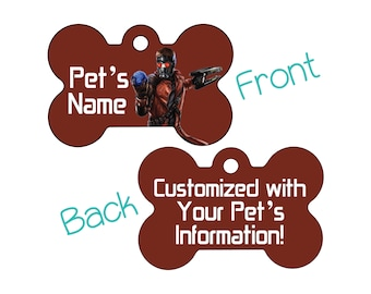 Starlord Peter Quill | Disney Guardians of the Galaxy Double Sided Pet Id Dog Tag | Personalized for Your Pet