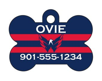 Washington Capitals Pet Id Tag for Dogs and Cats Personalized w/ Your Pet's Name & Number