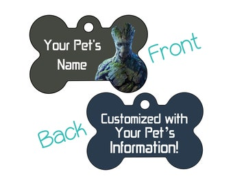 Adult Groot | Disney Guardians of the Galaxy Double Sided Pet Id Dog Tag | Personalized for Your Pet