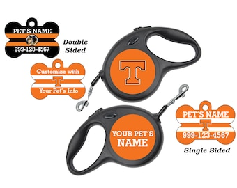 Tennessee Volunteers Pet Id Dog Tags & Retractable Leash Personalized for Your Pet