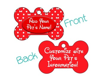 Cute Minnie Bow Red Polka Dot Pet Id Dog Tag Personalized for your Pet