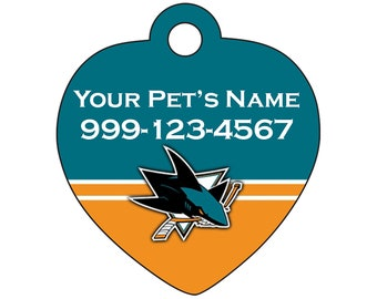 San Jose Sharks Pet Id Tag for Dogs & Cats | Personalized for Your Pet | Fits all Dogs and Cats!