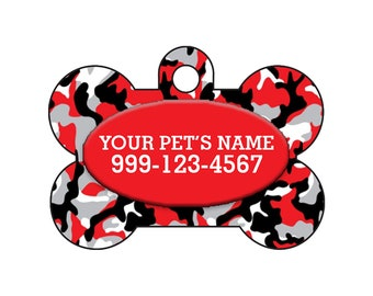 Fashionable Cute Red and Black Camo Pet Id Dog Tag Personalized for Your Pet