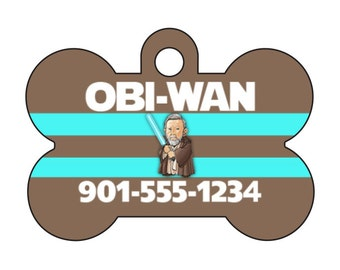 Disney Star Wars Obi Wan Kenobi Pet Id Dog TagPersonalized w/ Your Pet's Name and Number