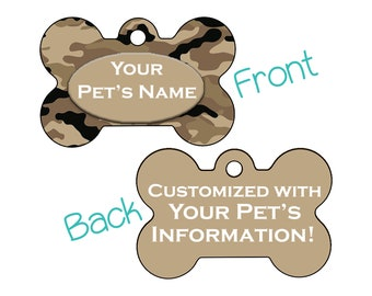 Camo Double Sided Pet Id Dog Tag | Beige Camo | Personalized for your Pet!