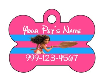 Disney Moana Pet Id Dog Tag Personalized w/ Your Pet's Name and Number