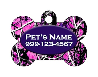 Camo Pet Id Dog Tag   Muddy Girl Purple Camo   Personalized w/ Your Pet's Name & Number