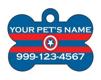 Captain America Custom Pet Id Dog Tag Personalized w/ Name & Number