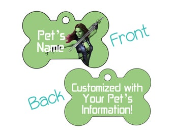 Gamora | Disney Guardians of the Galaxy Double Sided Pet Id Dog Tag | Personalized for Your Pet