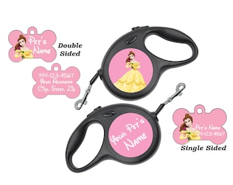 Disney Princess Belle Pet Id Dog Tags & Retractable Leash Personalized for Your Pet