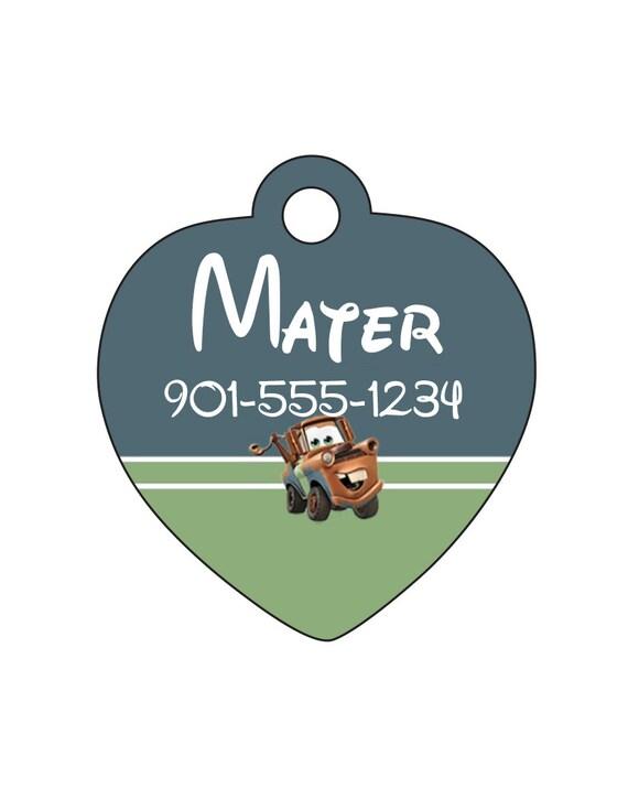 Disney Cars Mater étiquette de chien chat animal ID de balise personnalisé avec nom et numéro de votre animal de compagnie de remorquage