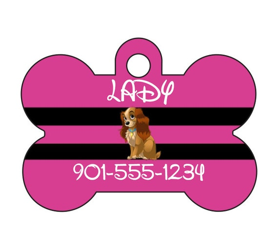 Disney Themed Animal Print Custom Pet Id Dog Tag Personalized w// Name /& Number