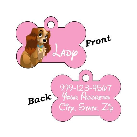 Disney Lady et le clochard Double face pour animaux de compagnie chien identifiant personnalisé pour votre animal de compagnie