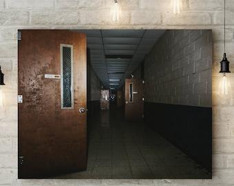 Dark School Hallway, Urban Exploration Fine Art Photography, Abandoned Urbex Dystopia Photography, Georgia Urban Decay Fine Art Print