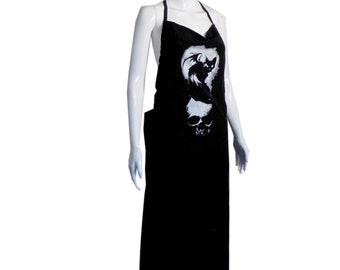 bat cat apron dress, Nat Jones, black cat dress, butchers apron, backless dress, Mina, bat cat,  cute goth, black cat clothes, skull dress