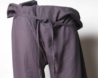 purple thai pants, thai fisherman pants, wrap pants, shanti, yoga, fisherman, thailand, purple fisherman pants, mens yoga pant, cotton pants