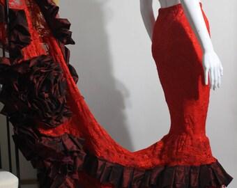 mermaid skirt, red lace skirt, red mermaid skirt, lace mermaid skirt, wedding dress, wedding mermaid skirt, fishtail skirt, gothic wedding