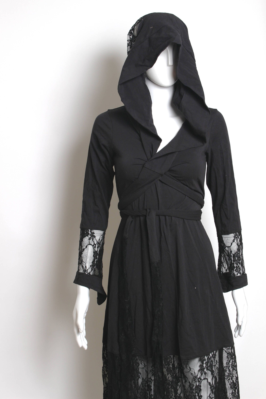 Who Accepts American Express >> black loose dress wiccan robe pagan dress gypsy short | Etsy