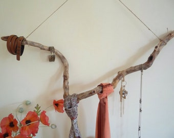 Natural tree branch decor, Hanging branch Jewellery organiser.