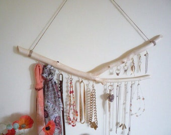Jewellery branch organiser, Necklace holder, Hanging branch decor, Beech branch organiser.