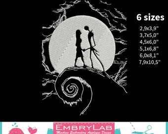 Machine Embroidery Design. The Nightmare Before Christmas. Jack and Sally. Romantic Meeting By Moonlight (16160)