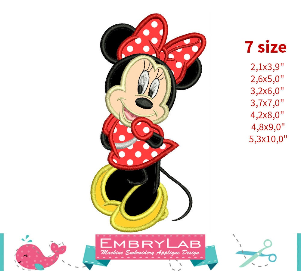 Applique Minnie Mouse Machine Embroidery Design Etsy Origami Diagram Instant Digital Download 16254