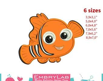 Applique Nemo Fish. Finding Dory. Machine Embroidery Applique Design. Instant Digital Download (16257)