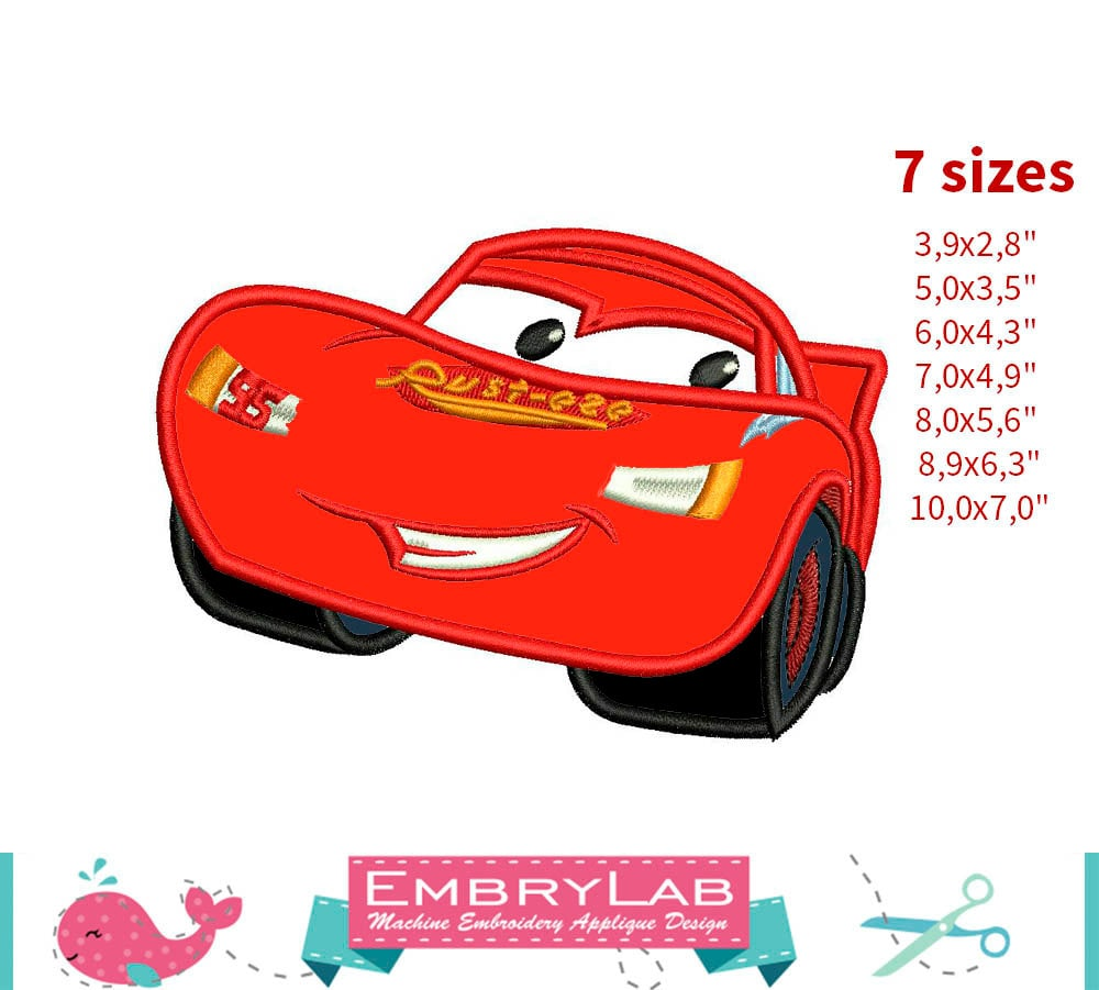 Applique Lightning Mcqueen. The Cars. Machine Embroidery