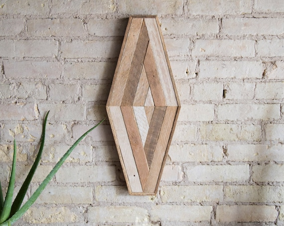 Reclaimed Wood Wall Art | Wood Decor  | Reclaimed Wood | Wood Art | Rustic Geometric| Wood Decor | Handmade | Diamond | Mid Century Modern