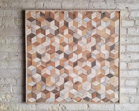 Reclaimed Wood Wall Art, Lath, Geometric, Cubes, Pattern, 30 x 30