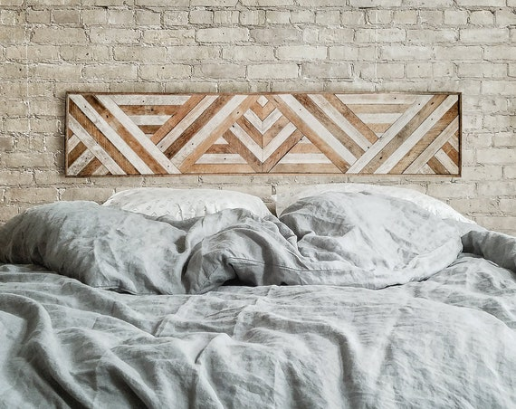 "Reclaimed Wood Wall Art, Queen Headboard, Wood Wall Decor, Geometric Triangle Pattern, 60"" x 12"""