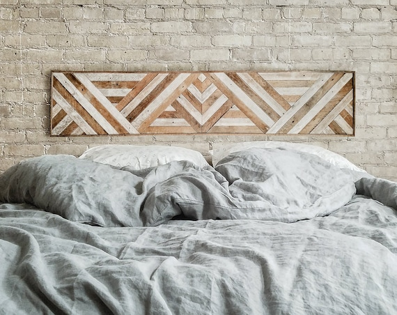 "Reclaimed Wood Wall Art, Queen Headboard, Wood Wall Decor, Geometric Triangle Pattern, 60"" x 12"" Black Friday Sale"