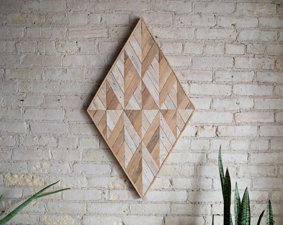 Reclaimed Wood Wall Art | Wood Decor  | Reclaimed Wood | Wood Art | Rustic Geometric| Wood Decor | Handmade | Diamond | Mid Century Decor