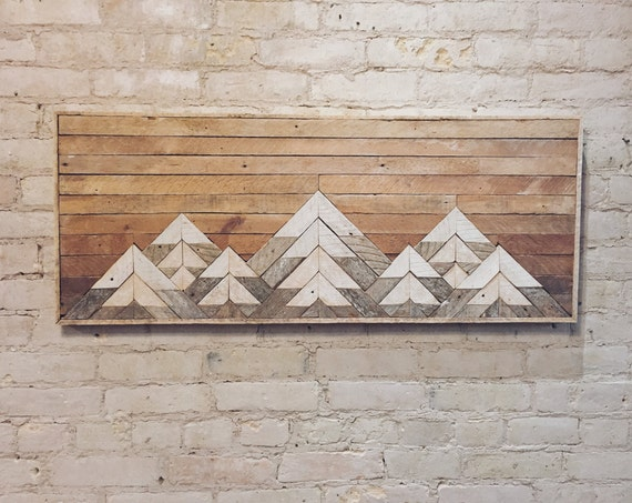 Reclaimed Wood Wall Art, Wall Decor, Twin Headboard, Lath, Geometric, Mountains, Gradient, Mountain, Lath, Wood Wall Art, Wood Decor, Rustic