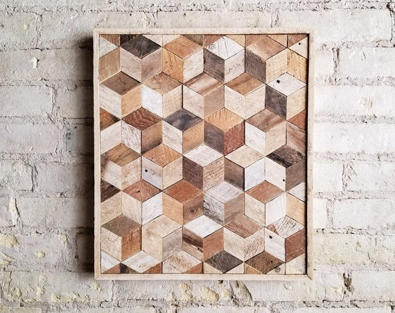 Wood Wall Art, Reclaimed Wood Wall Art, Wood Wall Decor, Wood Art, Modern Decor, Wood Decor, Cube Art, Geometric Wood Pattern, Rustic Art