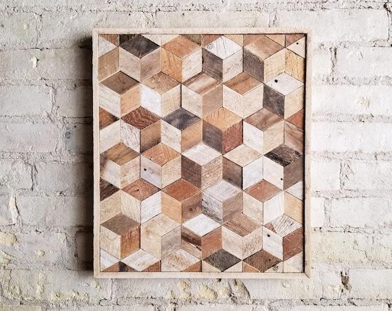 Wood Wall Art, Reclaimed Wood Wall Art, Wood Wall Decor, Wood Art, Modern Decor, Wood Decor, Cube Art, Geometric Wood Pattern, Rustic Art