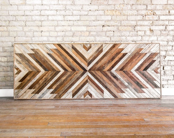 Reclaimed Wood Wall Art | Wall Decor | Wood Art | King Wood Headboard | Wall Art | Minimal Art | Wood Headboard | Rustic | Modern | 80x30