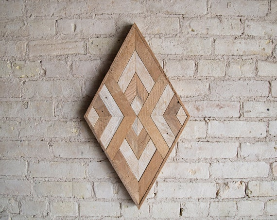 Reclaimed Wood Wall Art | Wood Decor  | Reclaimed Wood | Wood Art | Rustic Geometric| Wood Decor | Handmade | Diamond Decor | Wall Decor |